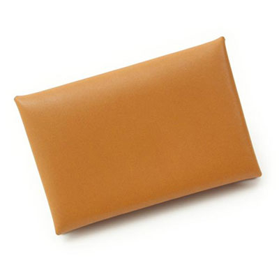 エルメス カルヴィ カードケース □Q刻 ブラウン×イエロー 財布