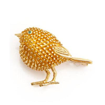ティファニー エメラルド 鳥 バード ブローチ ゴールド 750