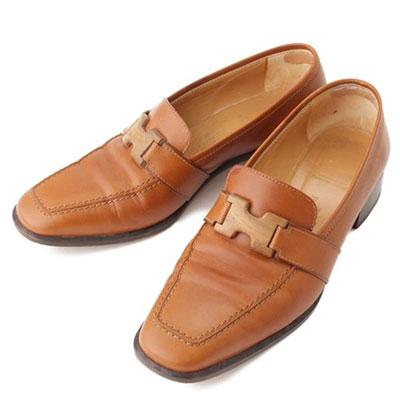 エルメス ヴィンテージ コンスタンス レザー ヒール ローファー 靴