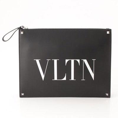 ヴァレンティノガラヴァーニ VLTN レザー ロックスタッズ クラッチバッグ ブラック