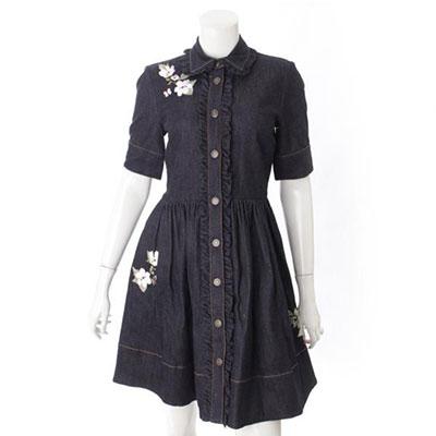 ケイトスペード デニム 花柄 刺繍 ドレス ワンピース ネイビー
