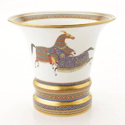 エルメス シュヴァルドリアン フラワーベース ラージ 花瓶 ホワイト×ゴールド