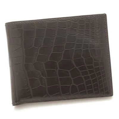 エルメス MC2 メンズ クロコダイル アリゲーター 二つ折り財布 □J刻 ブラック