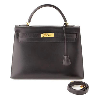 エルメス ケリー32 ボックスカーフ 外縫い ハンドバッグ □D刻 ブラック
