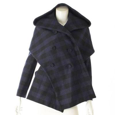 ディオール コート チェック ブルー×ブラック