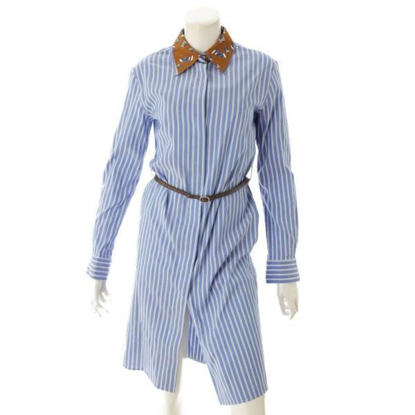 ルイヴィトン 19AW 長袖 ストライプ ベルト付き シャツドレス