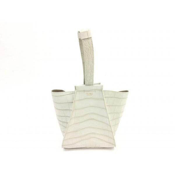 マックスマーラ クロコ型押し ミニ ハンドバッグ ホワイト
