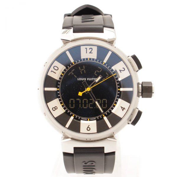 ルイヴィトン メンズ タンブール インブラック QZ クォーツ 腕時計 Q118F ブラック