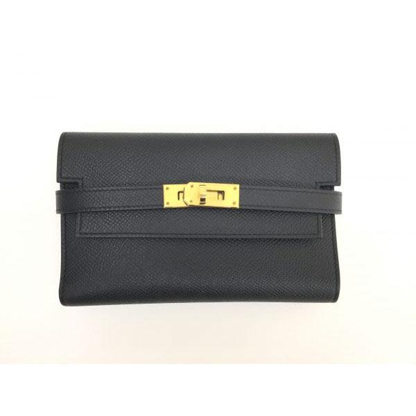 エルメス カラーウォレット コンパクト ヴォーエプソン 二つ折り財布 D刻 ブラック ゴールド金具