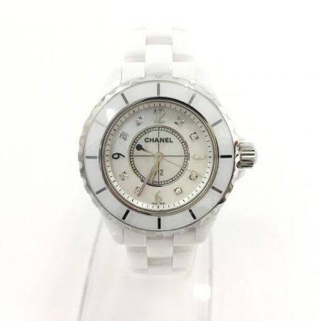 シャネル J12 ダイヤ8P 腕時計 H2422 ホワイトシェル文字盤