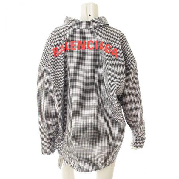 バレンシアガ オーバーサイズ チェック ロゴ 長袖 シャツ 622050 ブラック×ホワイト