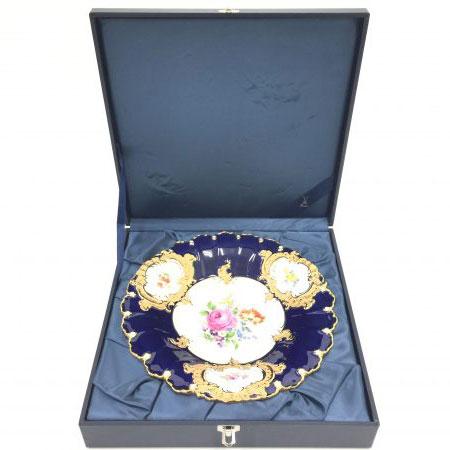 マイセン グランツゴールド フラワーブーケ 飾り皿 プレート コバルトブルー