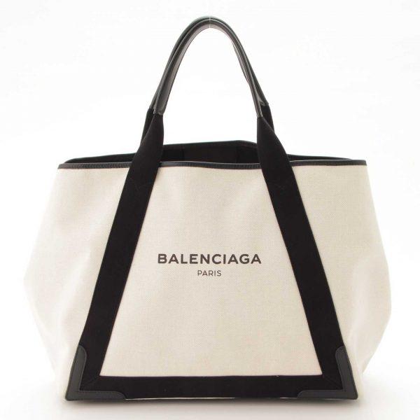 バレンシアガ(Balenciaga) ネイビーカバス M キャンバス トートバッグ 339936 アイボリー×ブラック
