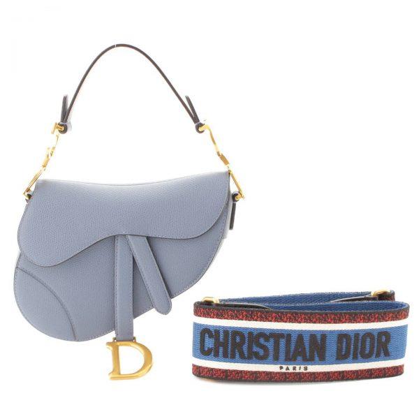 クリスチャン ディオール(Christian Dior) SADDLE 全面刺繍ストラップ付 サドルバッグ ショルダーバッグ ブルー