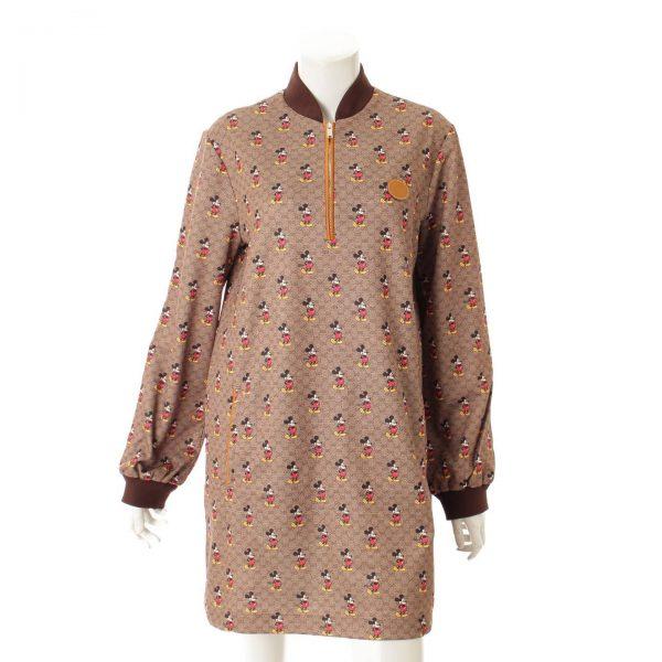 グッチ(Gucci) ディズニー x グッチ ジャージー ドレス ワンピース 609952 ブラウン S 38