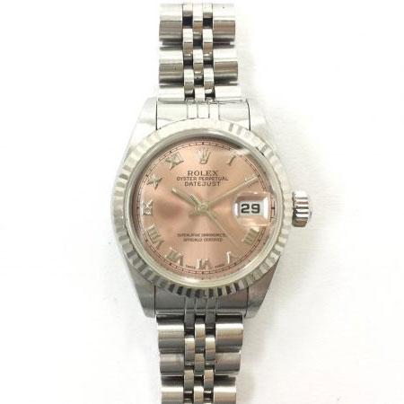 ロレックス デイトジャスト レディース 69174 ピンク文字盤 ローマインデックス 腕時計