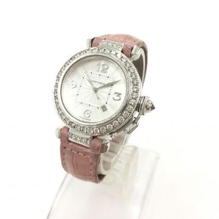 カルティエ パシャ32 ベゼルダイヤ 自動巻き 腕時計 ホワイトゴールド