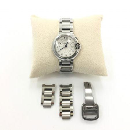 カルティエ バロンブルー SM 11Pダイヤ 腕時計 クォーツ WE902073