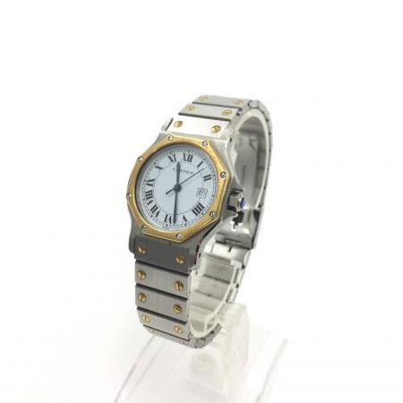 カルティエ サントスオクタゴンMM デイト 自動巻き 腕時計 コンビ K18YG/SS