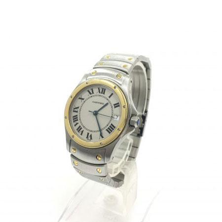 カルティエ サントスクーガー LM デイト 自動巻き オートマ 腕時計 コンビ K18YG/SS