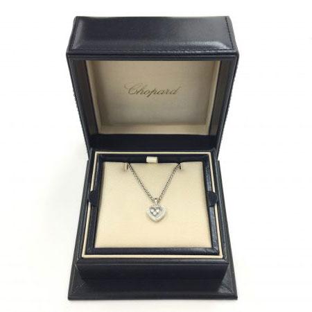 ショパール ハッピーダイヤモンド ハート ネックレス 3Pダイヤ 750