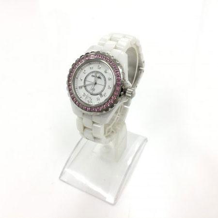 シャネル J12 ピンクサファイアベゼル 12Pダイヤ ホワイトセラミック H2010