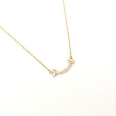 ティファニー Tスマイルミニ ダイヤネックレス Au750