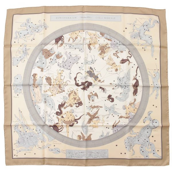 エルメス カレ90 シルクスカーフ HEMISPHARIUM COELI BOREALE 星座柄パズル グレー