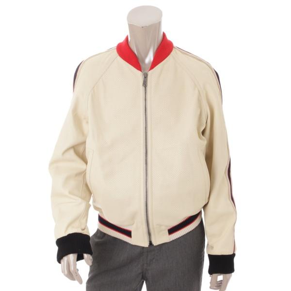 グッチ 18SS ロゴ ブローグ レザー ボンバージャケット