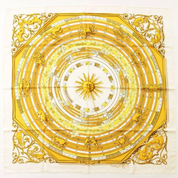 エルメス カレ90 シルクスカーフ DIES ET HORE 占星術 ホワイト