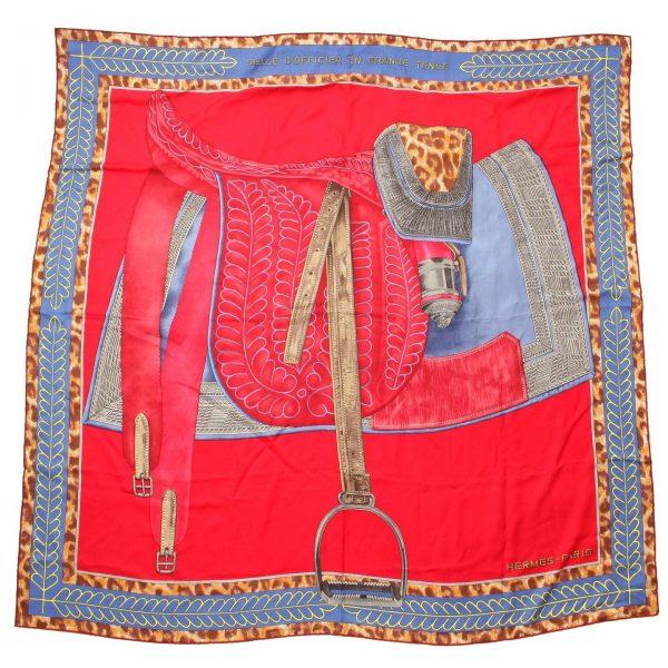 エルメス カレ140 カシミヤシルク スカーフ 士官鞍の礼装 レッド