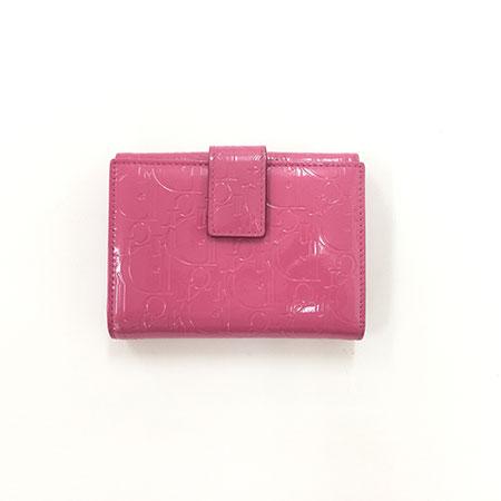 ディオール パテント 二つ折り財布 ピンク
