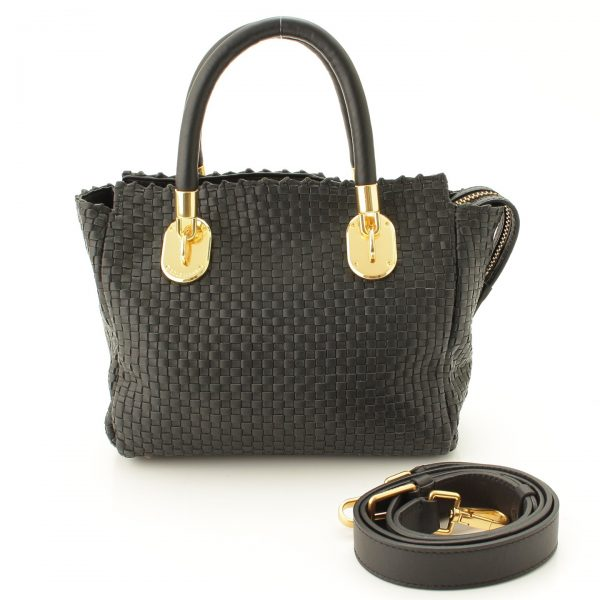 コールハーン BENSON 2 WOVEN SMALL SQUARE TOTE 2WAYバッグ ブラック CHD11637