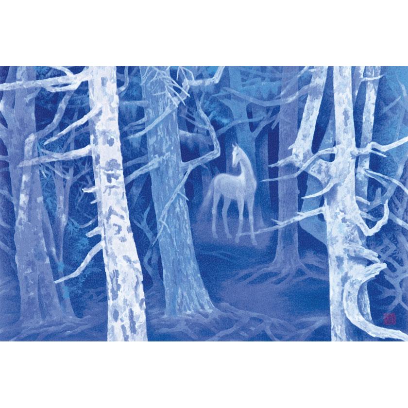 東山魁夷「白馬の森」岩絵の具式複製画 1000枚限定