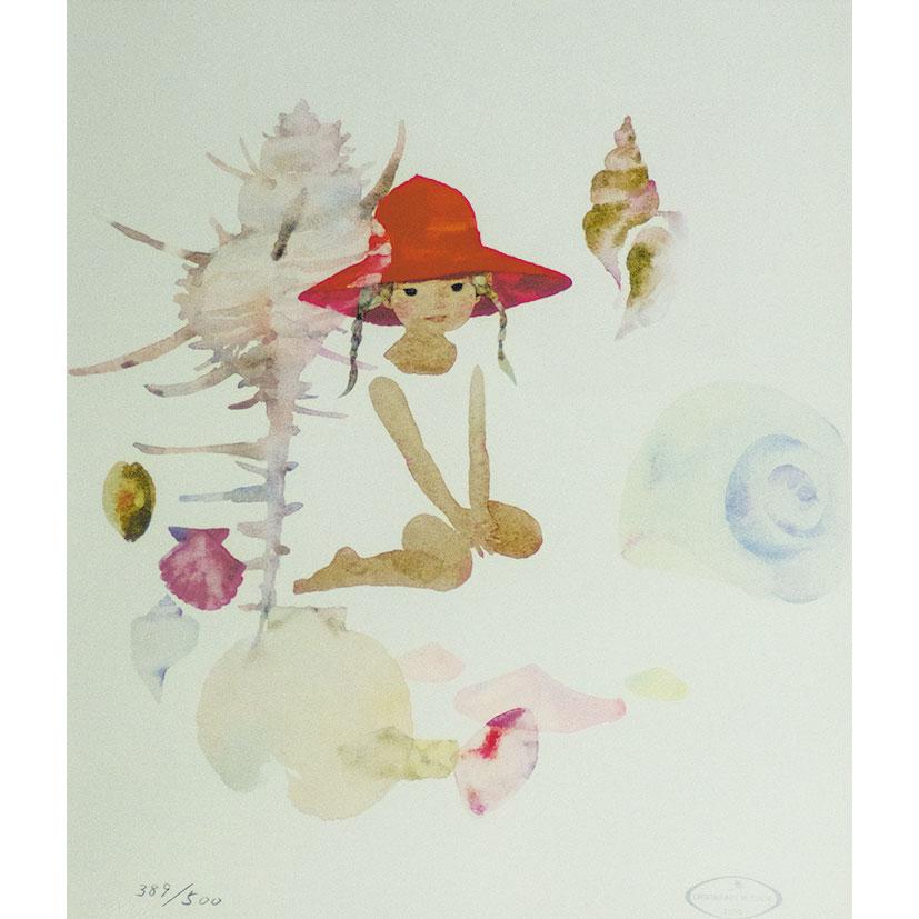 いわさきちひろ「貝がらと赤い帽子の少女」リトグラフ