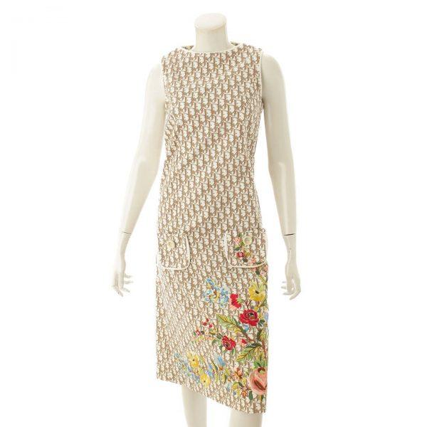 ディオール トロッター フラワー刺繡 ノースリーブ ワンピース ブラウン×ホワイト