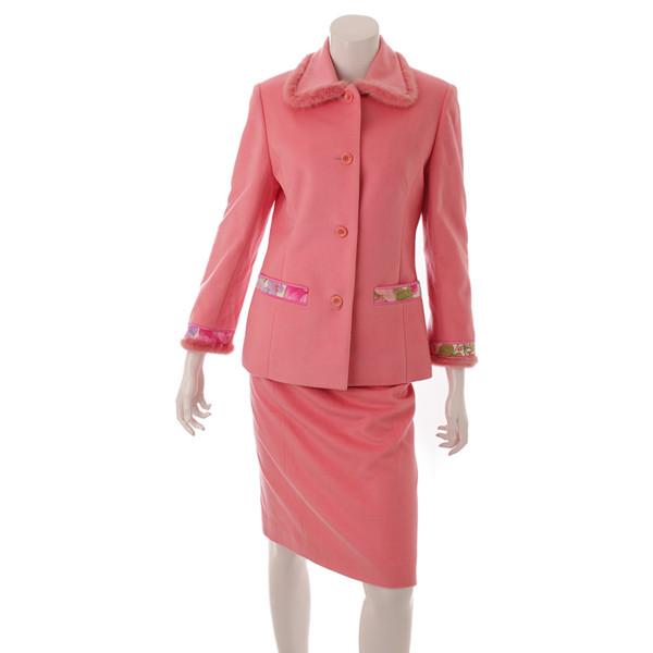 レオナール ミンクファー カシミヤ コート セットアップ スカート ピンク