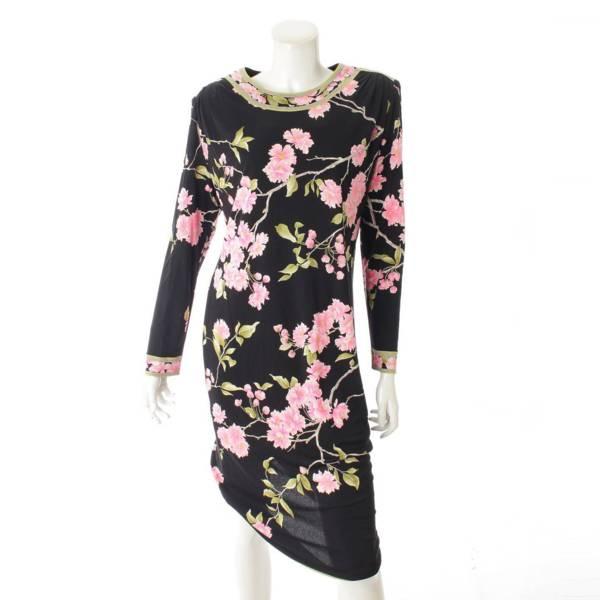 レオナール 花柄 長袖 シルク ワンピース ブラック×ピンク