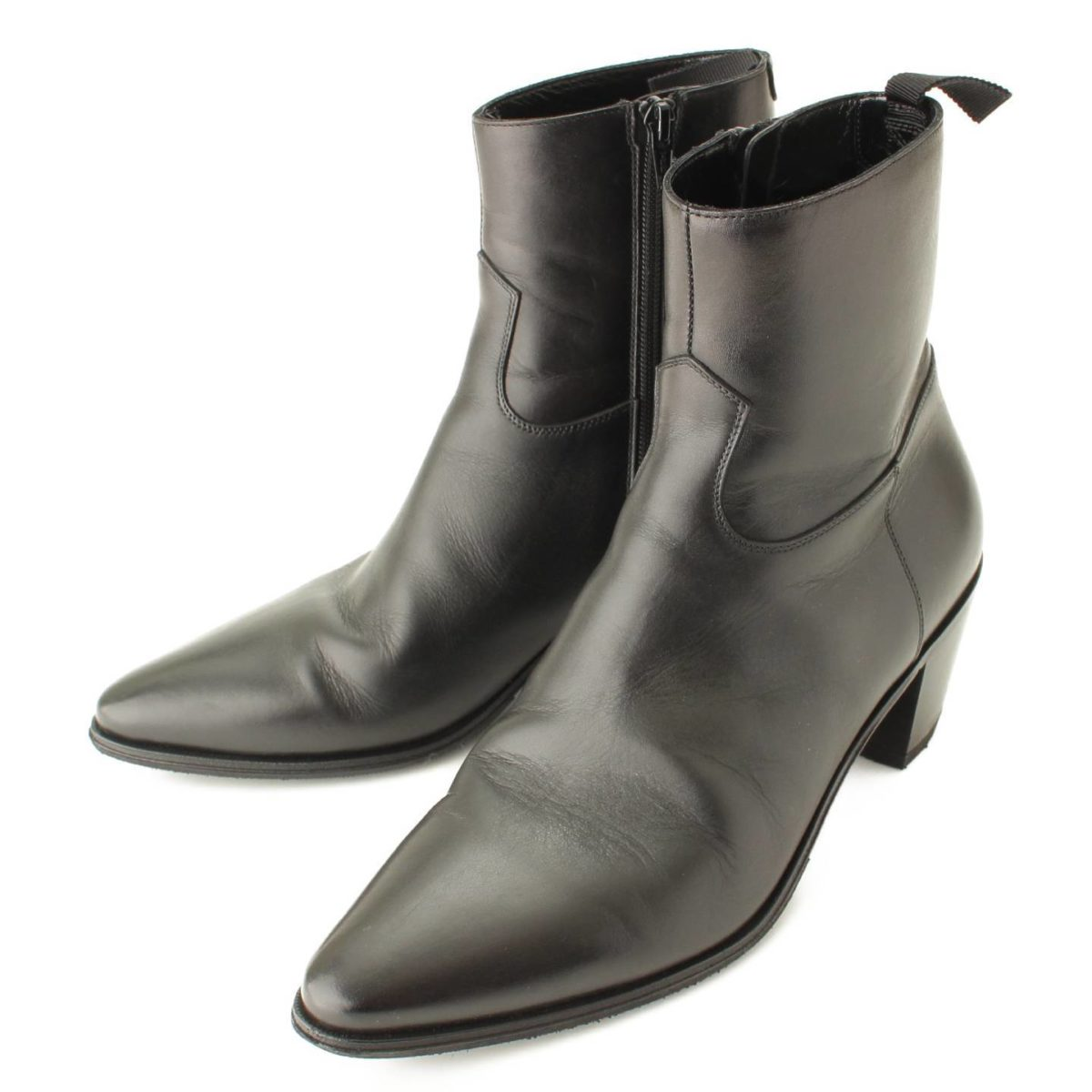 セリーヌ ジャクノ シャイニーカーフスキン ブーツ ブラック