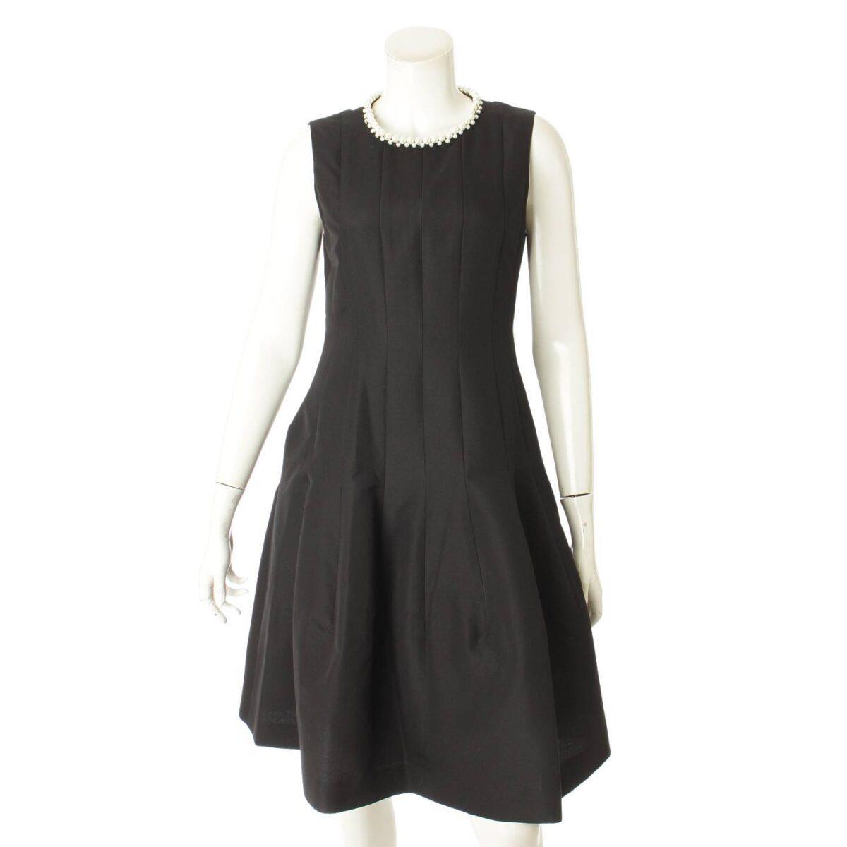 フォクシー Paneled Seam Dress パール装飾 ワンピース ドレス 36737 ブラック