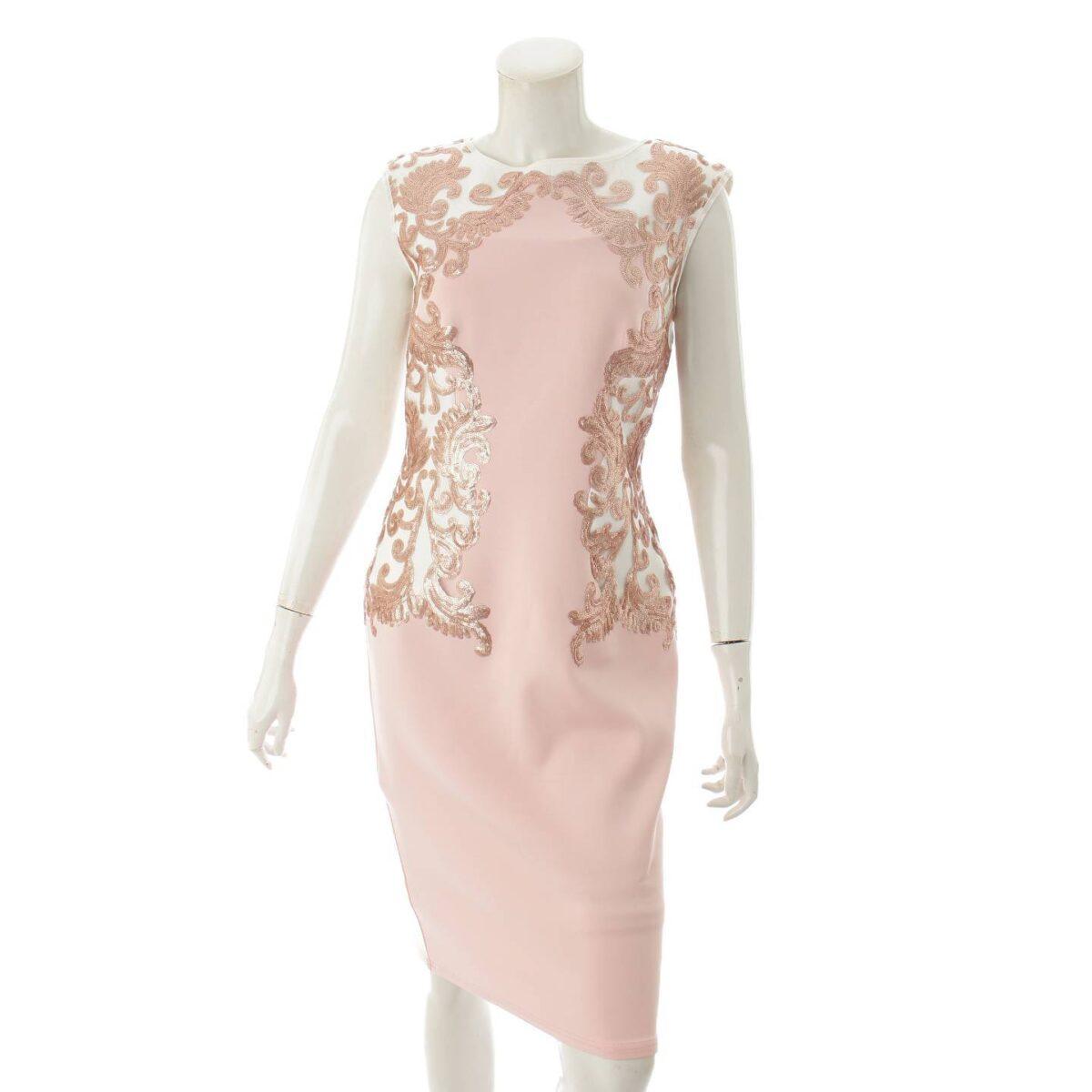 タダシショージ ノースリーブ ワンピース ドレス ピンク×ホワイト