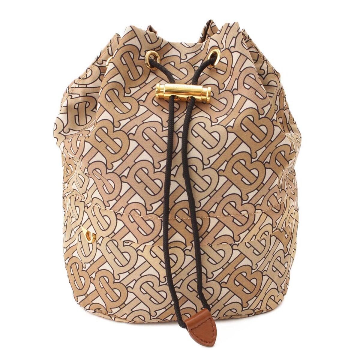 バーバリー ヴァーミリオン ナイロン 巾着バッグ ゴールド