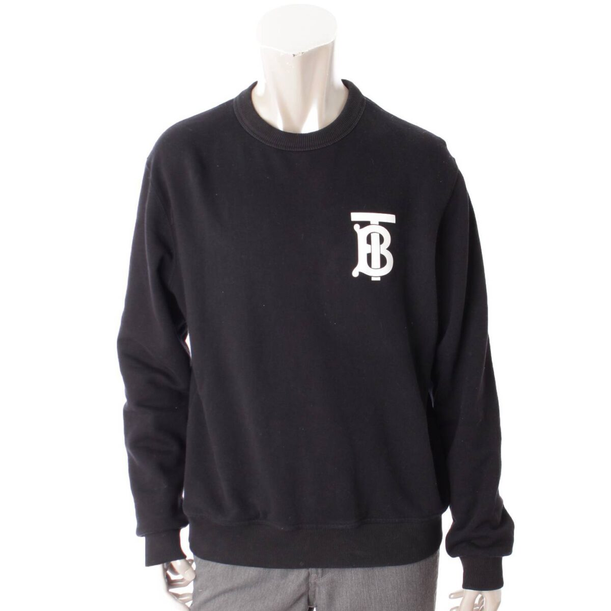 バーバリー 19年 メンズ モノグラムモチーフ ロゴ スウェットシャツ トップス ブラック