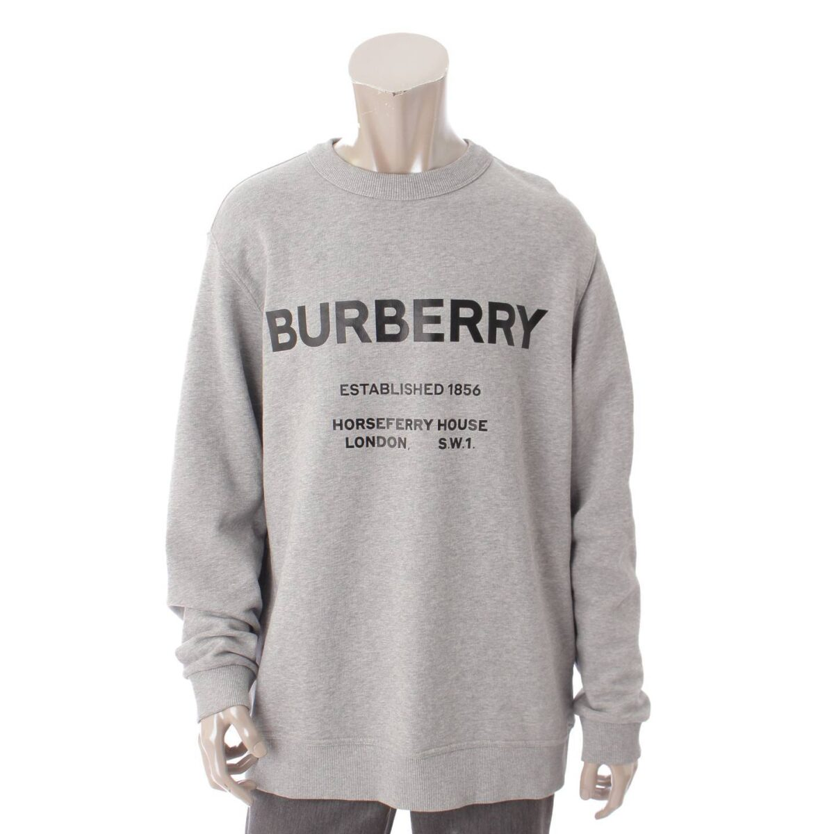バーバリー 19年 メンズ ホースフェリープリント ロゴ スウェットシャツ トップス グレー