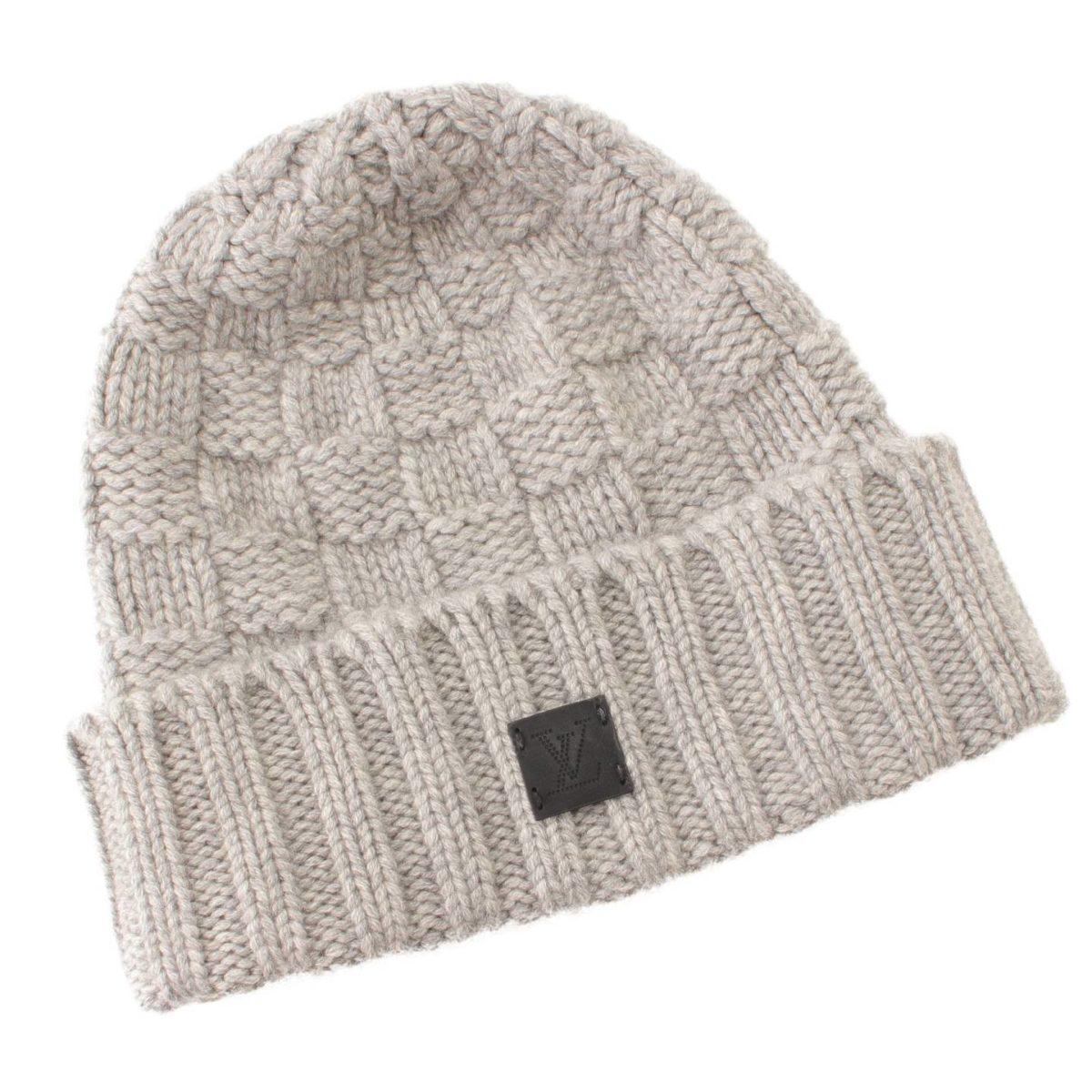 ルイヴィトン ダミエ ボネ・ヘルシンキ カシミヤ ニット帽 M74404 グレー