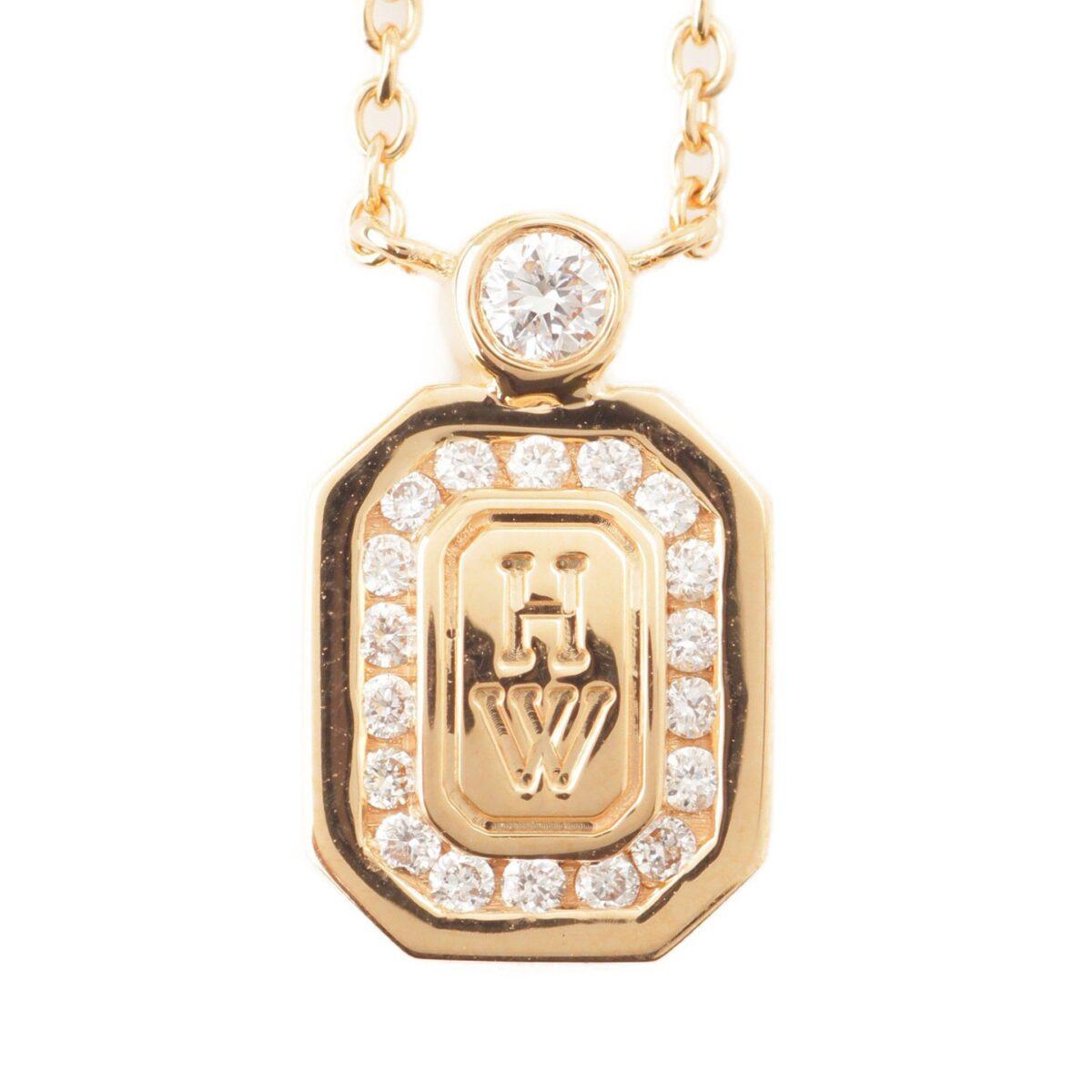 ハリーウィンストン HWロゴ ローズゴールド ダイヤモンド ペンダント バイハリー ウィンストン 750PG