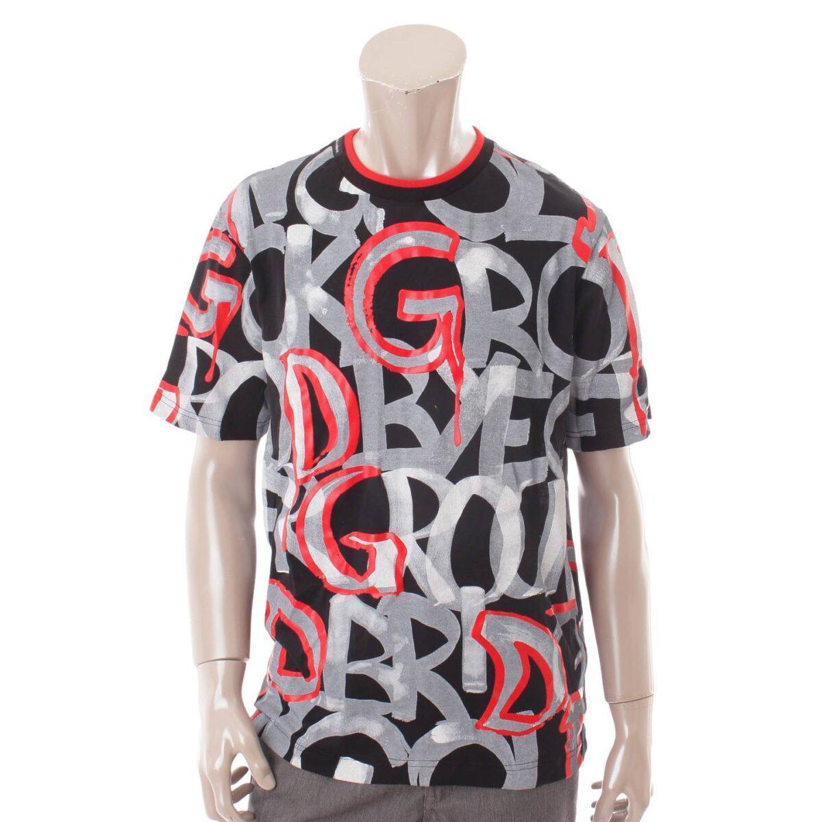 ドルチェ&ガッバーナ メンズ ロゴ グラフィティ Tシャツ カットソー G8JT0T ブラック