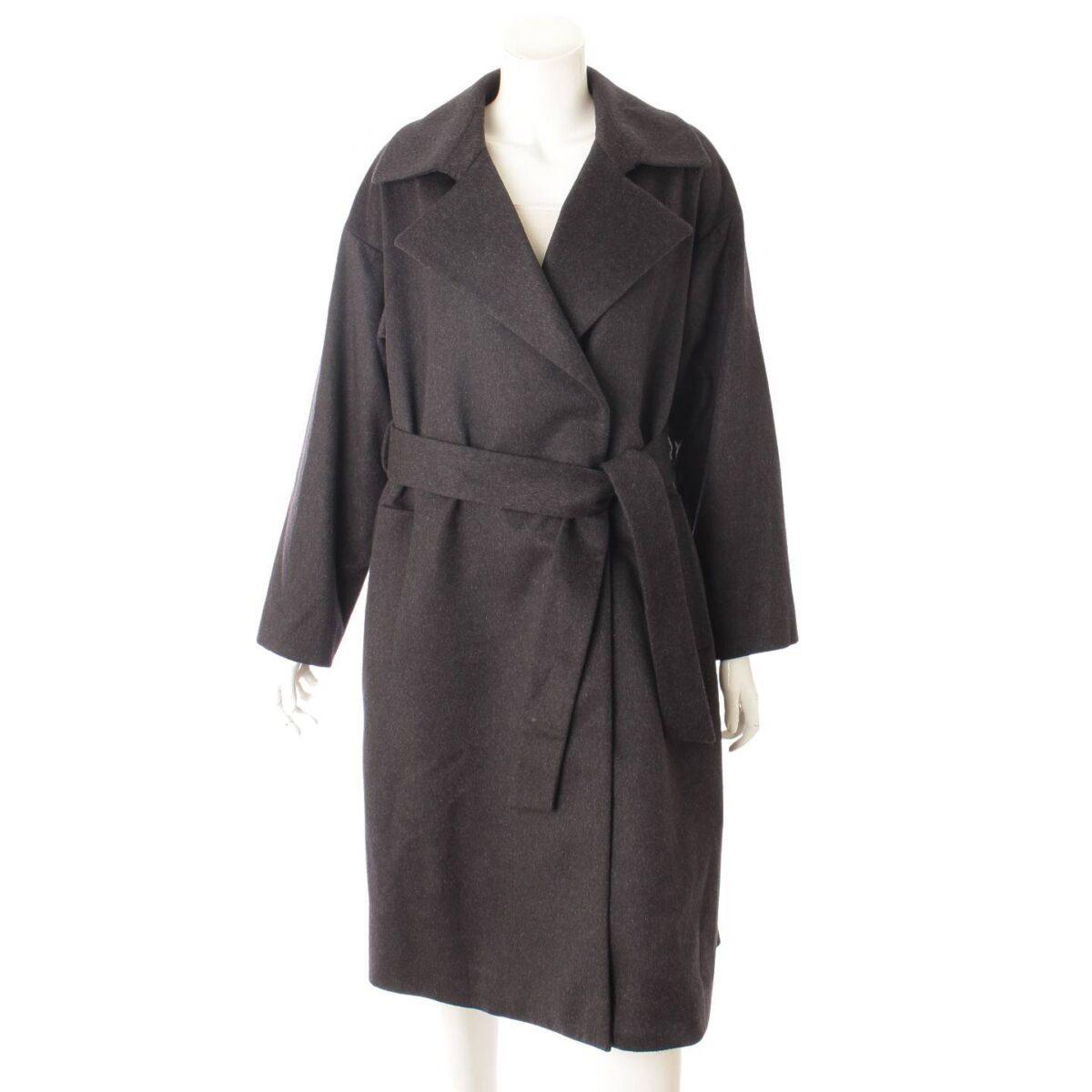 ヨシエイナバ yoshie inaba カシミヤ混 ダブルブレスト コート ベルト付き B0384FWC812 グレー