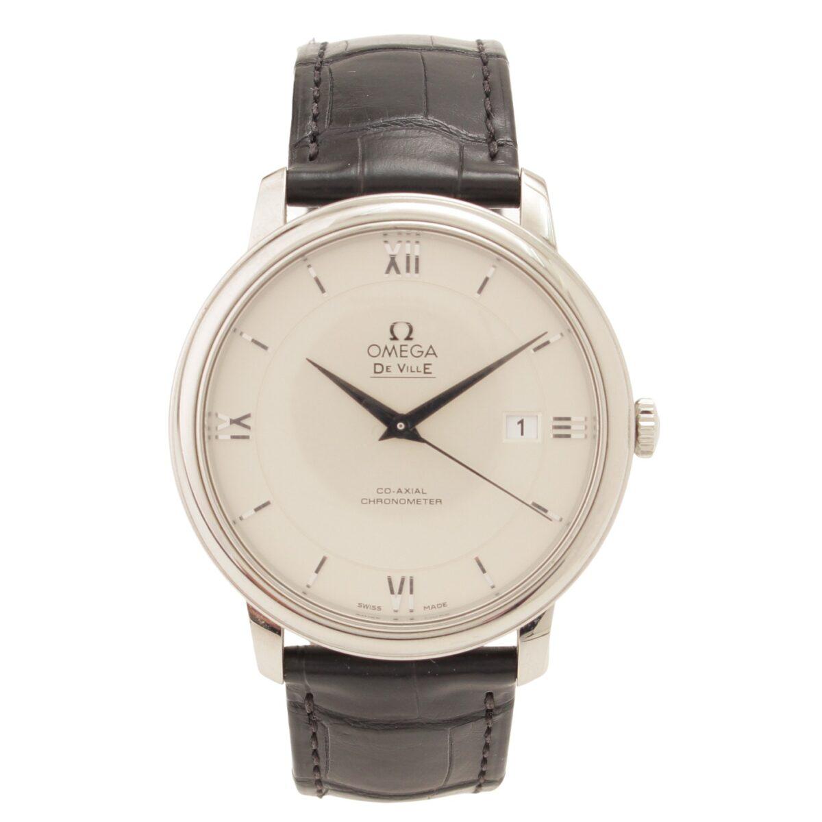 オメガ デヴィル プレステージ シルバー文字盤 腕時計 424.13.40.20.02.001