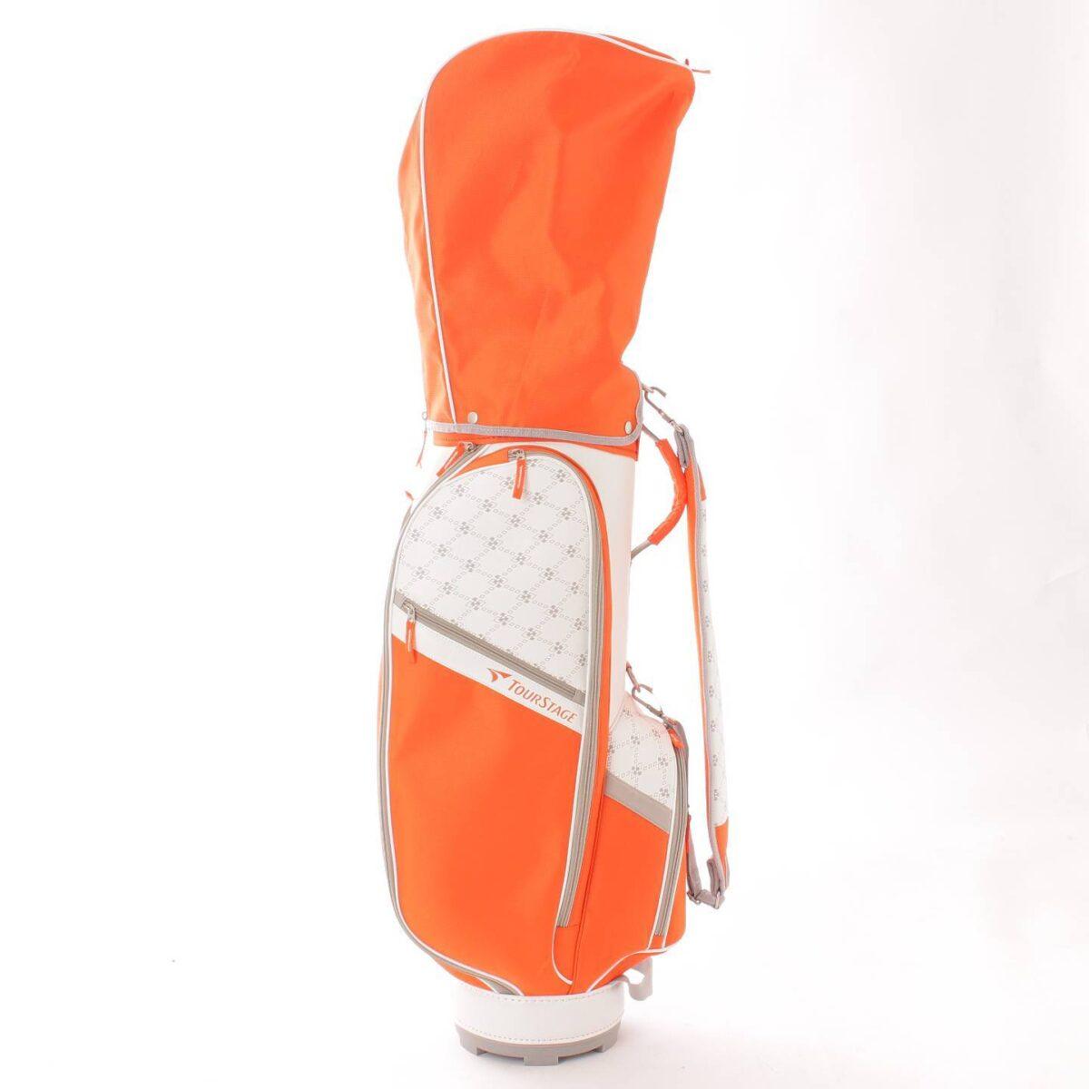 ブリヂストン ツアーステージ ゴルフクラブ 8本セット キャディバッグ 付き (1W、4W、U5、I7、I9、PW、SW、PT) オレンジ
